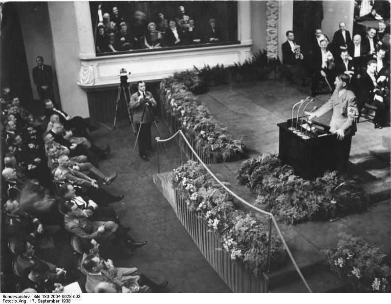 Adolf Hitler speaking at the Nuremberg Opera House